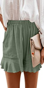 NEYOUQE Womens Cotton Linen Casual Summer Elastic Waist Comfy Shorts with Pocket