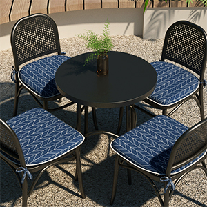 outdoor/indoor seat cushions for kitchen chairs set of 4 patio chair pad with ties black grey beige