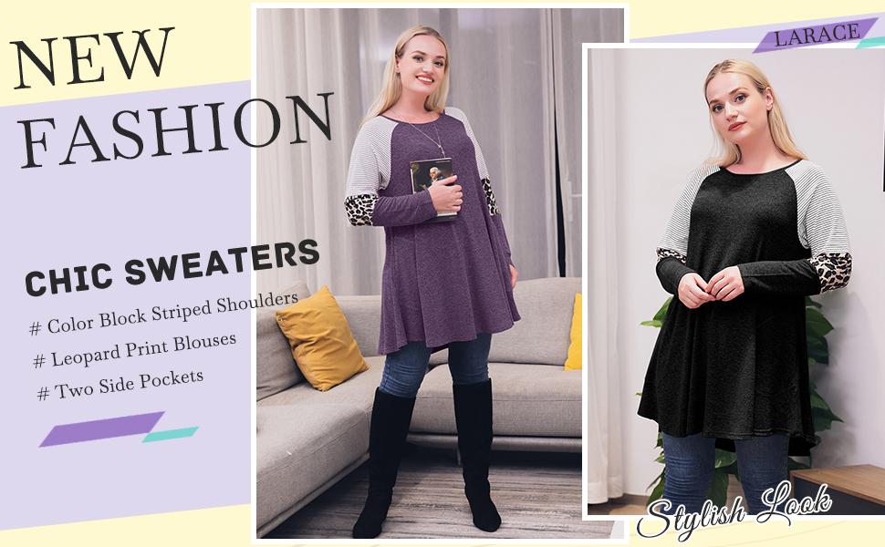 8083 LARACE Plus Size Leopard Print Sweaters for Women Color Block Striped Shirts