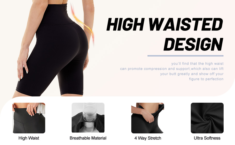 high waist yoga shorts for women