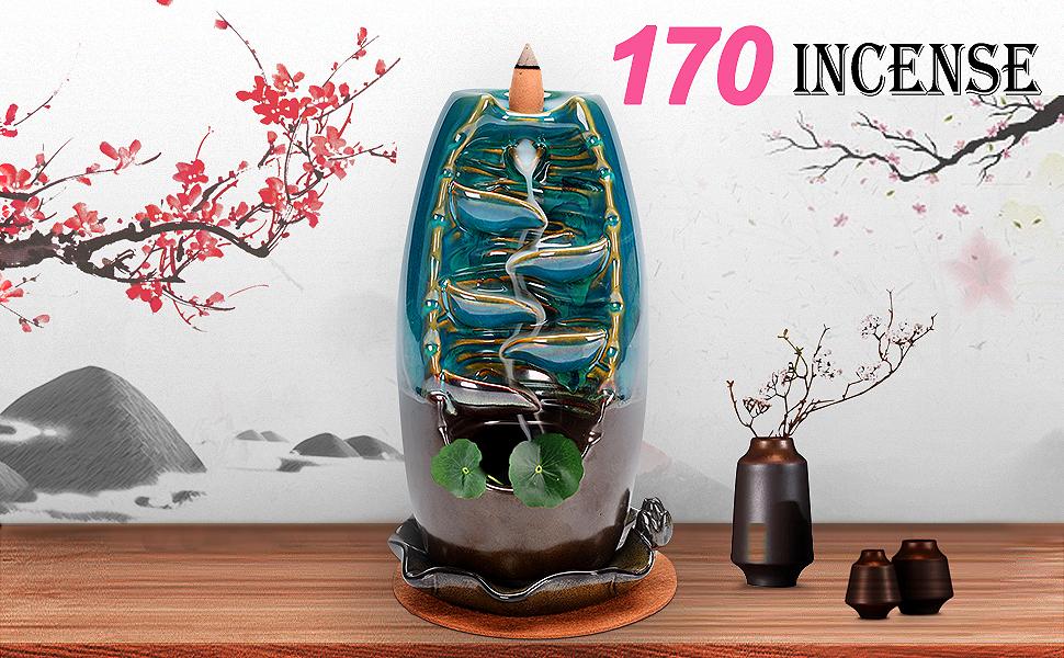 incense fountain,Ceramic Backflow Incense Holder,Waterfall Incense Burner,Backflow Incense Cones