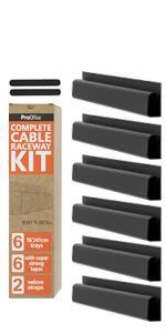 Pro Office Black J Channel Cable Raceway Kit Set of 6