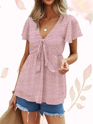 women's short sleeve chiffon tunic top