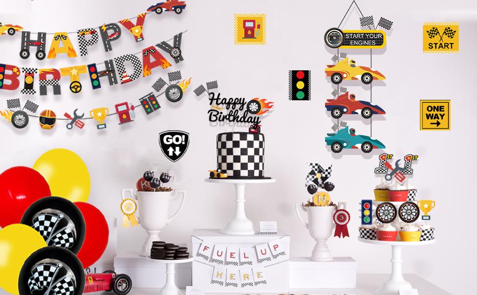 racing car birthday party decoration for boys girls teens