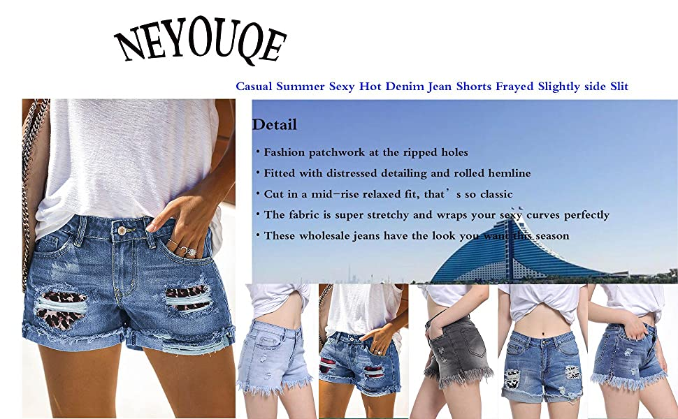 NEYOUQE Women summer Side Slit Out Sexy Jeans Ripped Denim Hot Pants Denim Shorts
