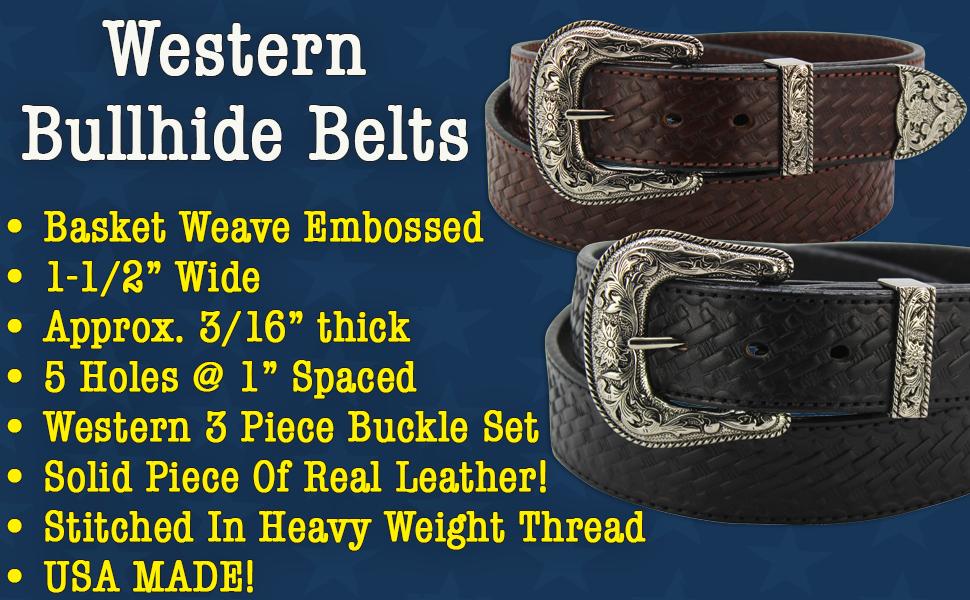 Bullhide Leather Basket Weave Belt 1.5 Wide (1020)