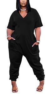 short sleeve long pants jumpsuit