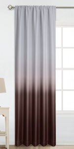Rod Pocket Greyish White to Brown Ombre Room Darkening Ombre Curtains
