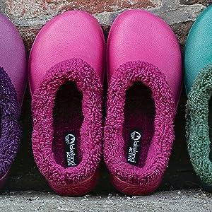 Womens ladies garden clogs lined fluffy warm fleece lining soft winter garden shoes comfortable