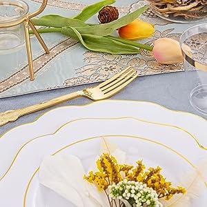 gold disposable silverware