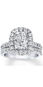 Bridal Set 3-1/3 CT Radiant Cut Moissanite Engagement Ring