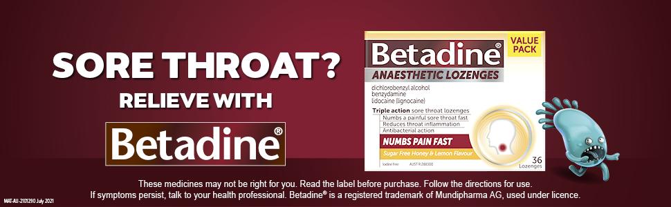 Betadine; Betadine Anaesthetic lozenges; Betadine  sore throat medicine; Honey & Lemon lozenges;