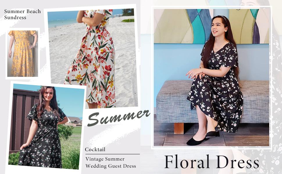 chiffon midi dress for summer wedding casual floral print midi homecoming midi dress wrap puffsleeve