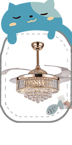 Retractable crystal ceiling fan (rose gold)