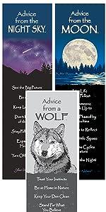 night sky, moon, wolf bookmarks