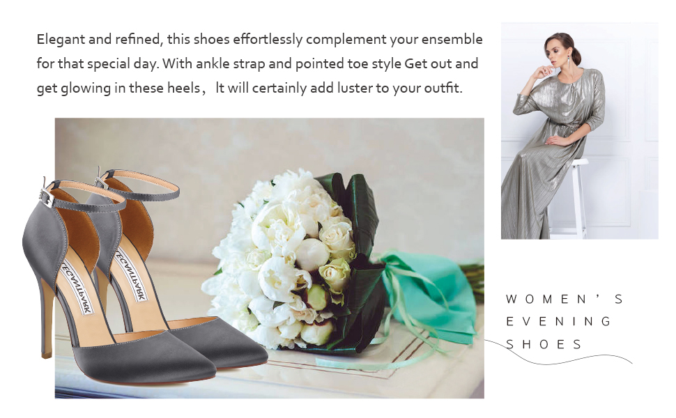 Wedding Shoes For Bride bridal shoes High Heels for women silver grey pumps dress evening party
