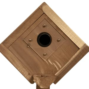 Comes with 2 predator guards that can be used to adjust the hole opening size of the birdhouse
