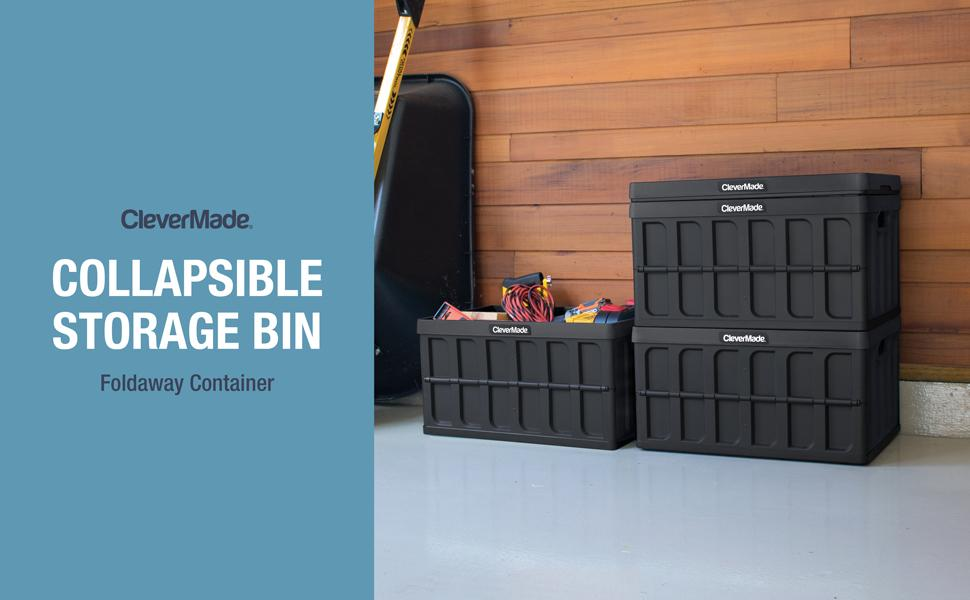 Large collapsible stackable storage bins with lid