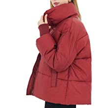 Red puffer jacket for warm winter women coat