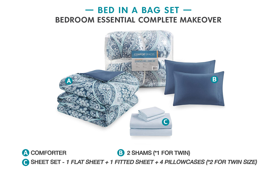 Gloria Blue Bed In A Bag Set - Bedroom Essential Complete Makeover