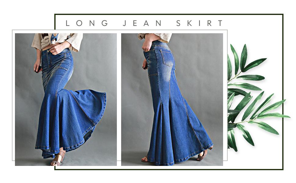 women denim skirt fishtail skirt