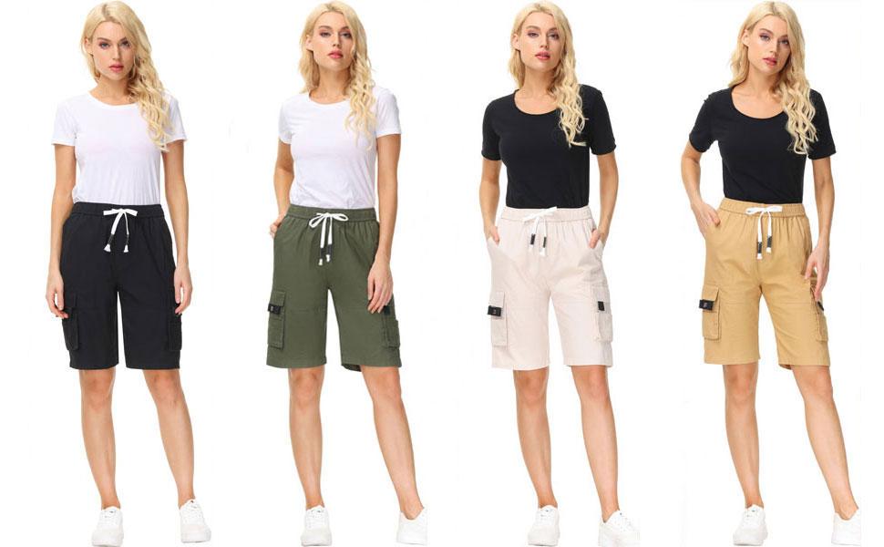 womens cargo bermuda shorts ladies capri cargo shorts women's cargo shorts shorts for women casual