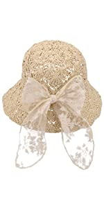 Baby Kids Girls Straw Sun Hat With Bowknot