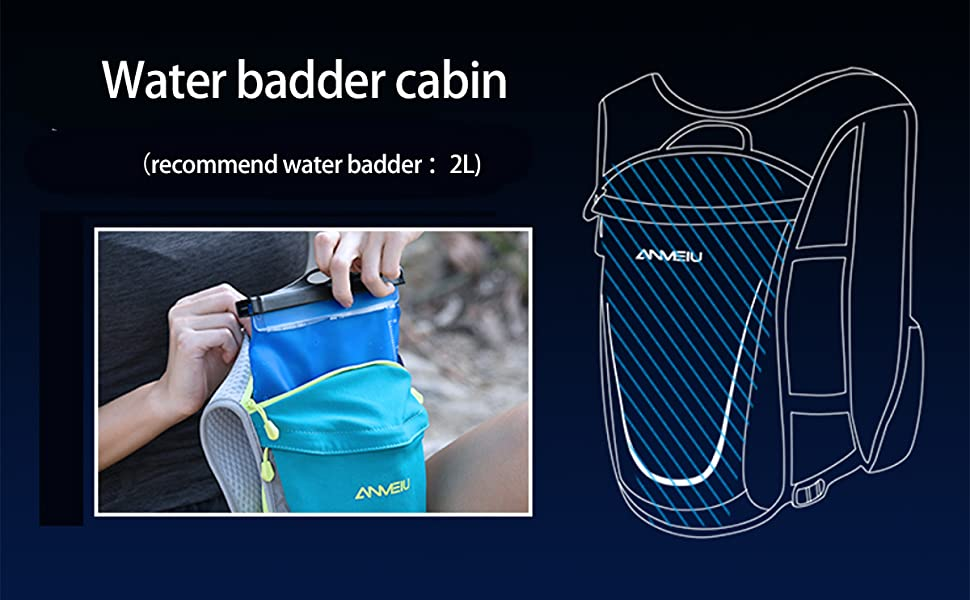 The main cabin of the running vest can put 2L water bladder