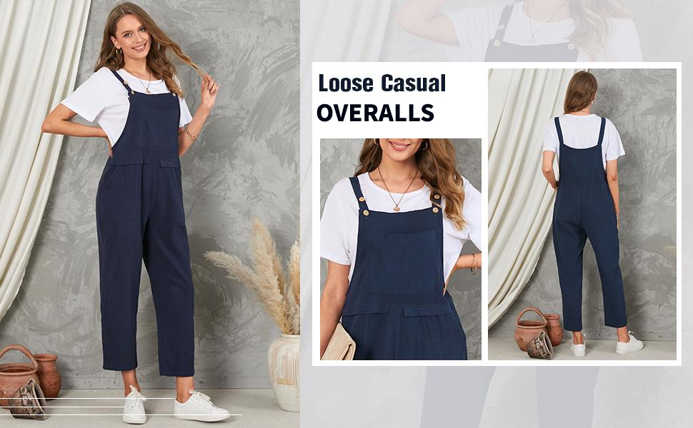 loose casual cotton overalls