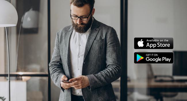 man with phone with app store and google play Carbon Monoxide Detectors Nitrogen Oxide Sensor