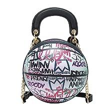 Graffiti Basketball Cute Round Handbag