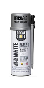 White foam sealant blends into natural surfaces and is multipurpose.