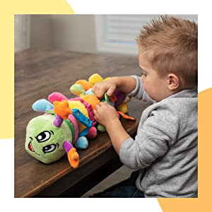 Bentley Caterpillar - Stuffed caterpillar toy with buckles and embroidered numbers on feet.