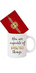 rakhi for brother with gift set printed coffee mug