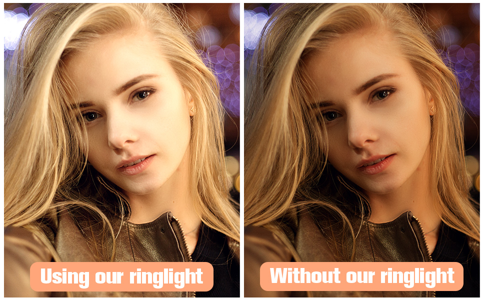 Compare using ring light with without ring light