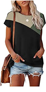 Summer Casual T Shirts Short Sleeve Blouses Tunic Tops with Pockets