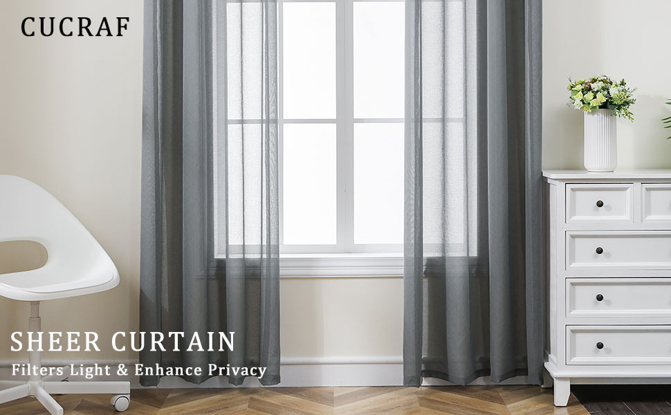 grey sheer curtains for living room and bedroom