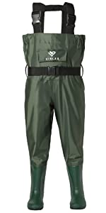 chest waders for kids waterproof pvc nylon for fishing and hunting