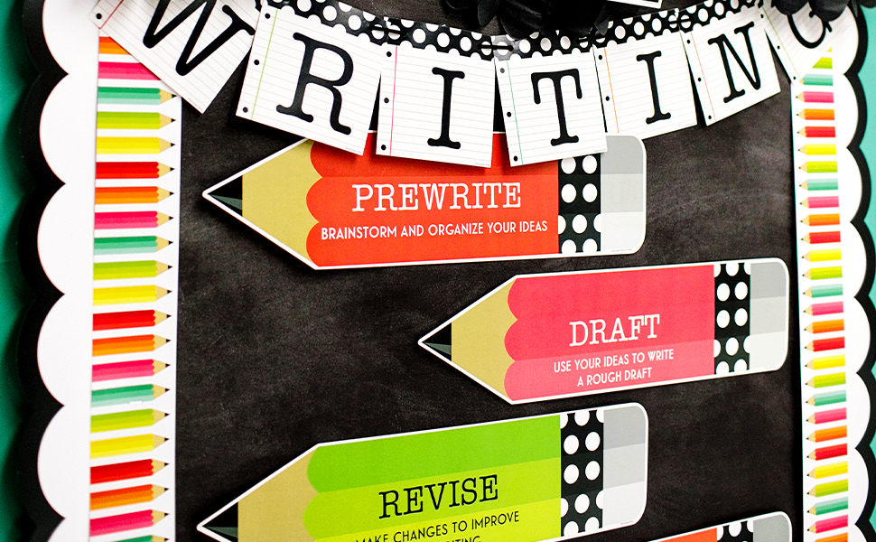 Bulletin board decorated with borders