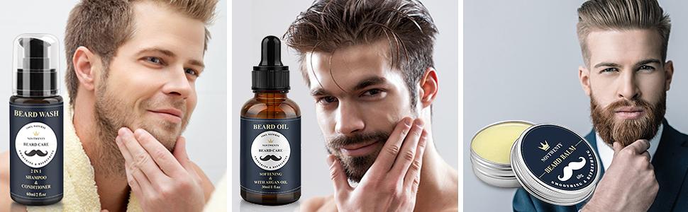 beard wash, beard oil, beard balm