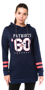 Ultra Game NFL Womens Tunic Hoodie Pullover Sweatshirt Terry