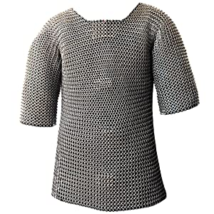 Mythrojan Half Sleeves Chainmail Shirt MS Butted - Zinc Plated Silver…