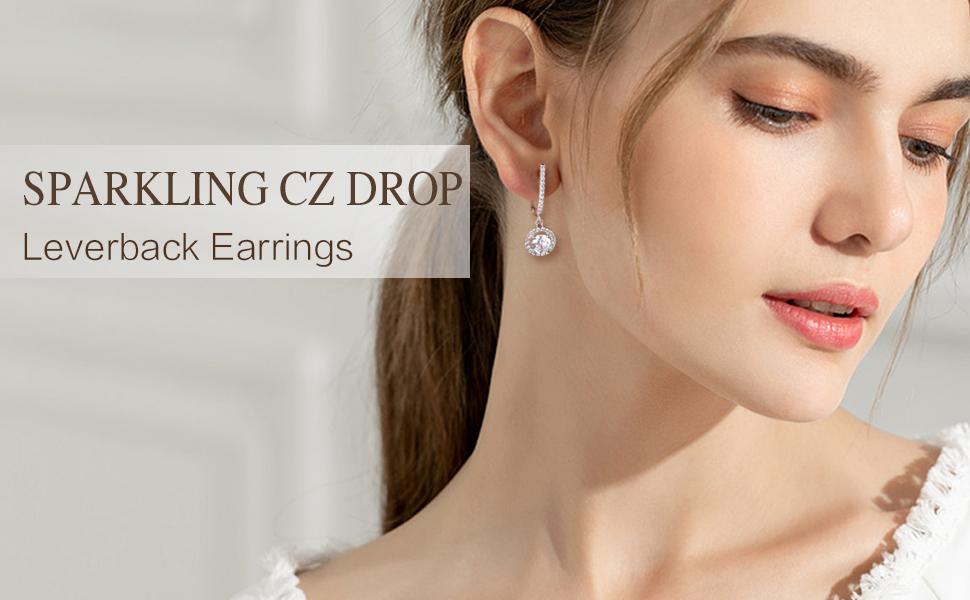 CZ drop earrings for women