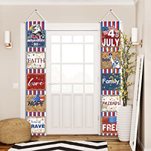 Fourth of July Decoration Patriotic Welcome Banner, 4th of July Banner for Independence Day