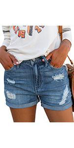 luvamia Womenamp;#39;s Ripped Denim Jean Shorts High Waisted Stretchy Folded Hem Short Jeans