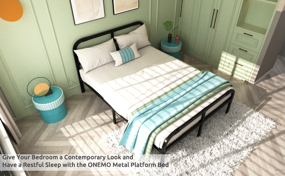 ONEMO 14 Inch Queen Bed Frame with Headboard and Hootboard,Metal Bed Frame