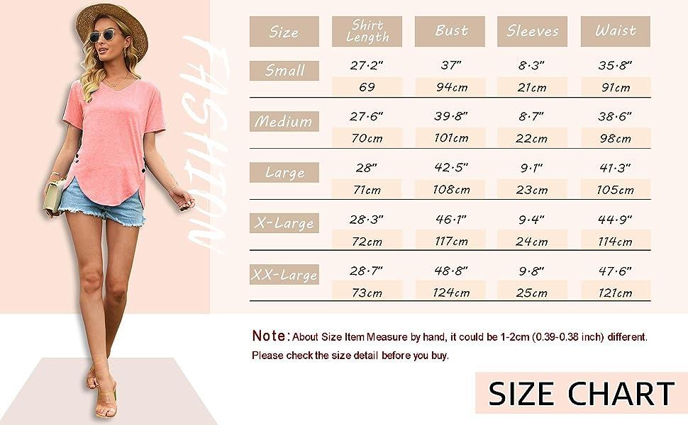 women tops size chart