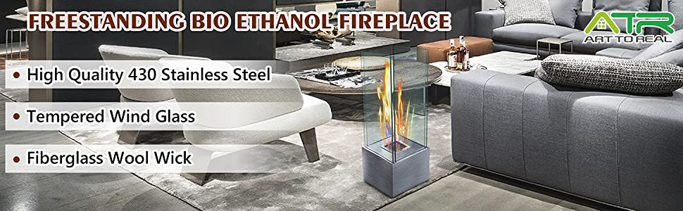 ATR ART TO REAL Freestanding Bio Ethanol Fireplace Stainless Steel