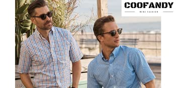 coofandy mens short sleeve plaid check shirts summer