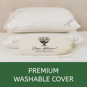 Premium pillow includes premium washable cover made with organic cotton blend